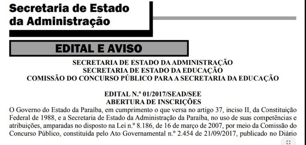 Edital de concurso da Educação é publicado no Diário Oficial do Estado da Paraíba (Foto: Reprodução/Diário Oficial do Estado da Paraíba)