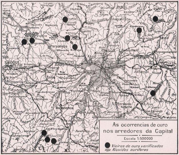 O mapa é de um livro editado em 1939, e mostra locais onde o ouro teria sido extraído em São Paulo (Foto: CARLOS CORNEJO / ACERVO PESSOAL)