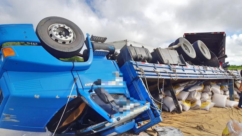 Caminhão que capotou estava carregado de alpiste — Foto: PRF/Divulgação