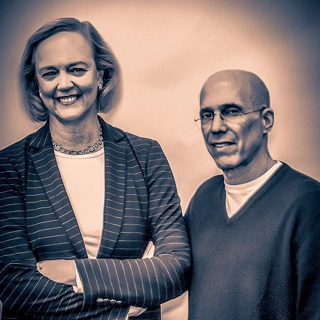 Margaret Whitman - 62 anos Economista, ex-CEO do eBay e da HP, CEO da Quibi.  Jeffrey Katzenberg - 68 anos Fundador da Quibi e ex-CEO dos Estúdios Disney e da Dreamworks (Foto: Getty Images)