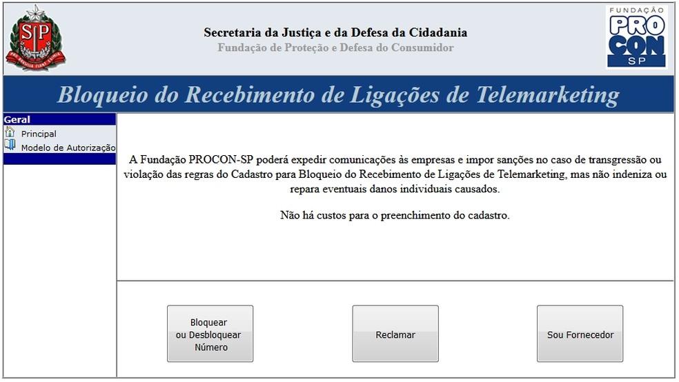 Procon oferece cadastro para bloquear ligações de telemarketing (Foto: Reprodução/Procon)