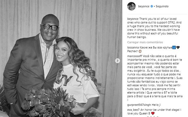 Beyoncé recebe pai em show, mas agradece equipe em post (Foto: Reprodução/Instagram)
