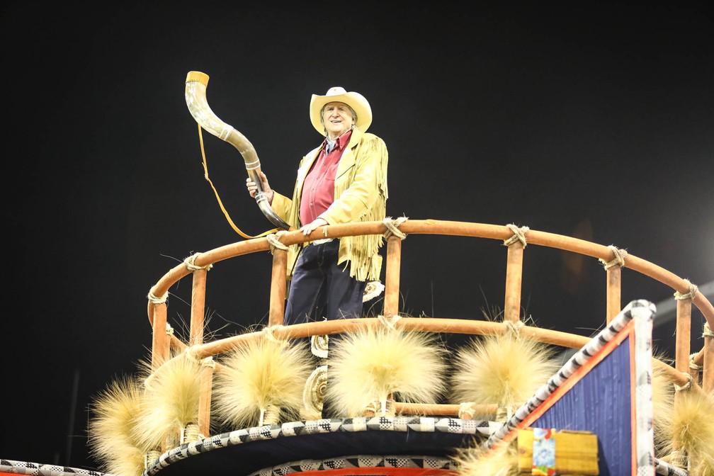 O cantor Sérgio Reis desfilou pela Dragões da Real, que homenageou a música sertaneja (Foto: Fábio Tito/G1)