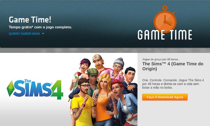 The Sims 4 pode ser testado por 48 horas no Game Time da loja Origin (Foto: Reprodução/Origin) (Foto: The Sims 4 pode ser testado por 48 horas no Game Time da loja Origin (Foto: Reprodução/Origin))
