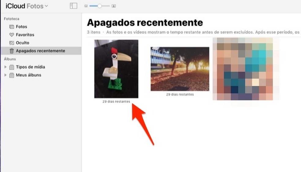 Ação mostra como selecionar um foto deletada que está na biblioteca de itens apagados do iCloud — Foto: Reprodução/Marvin Costa