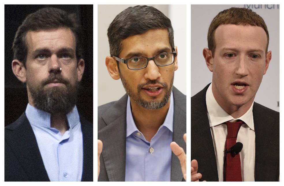 Twitter, Google e Facebook participam de audiência no Senado dos EUA nesta quarta (28) — Foto: Jose Luis Magana, LM Otero, Jens Meyer/AP Photo