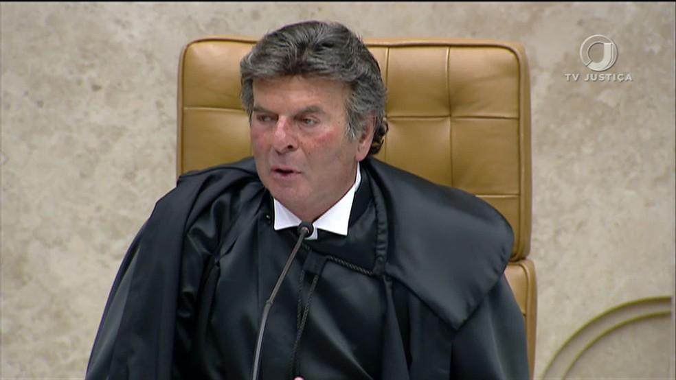 Ministro Luiz Fux discursa como novo presidente do STF — Foto: Reprodução