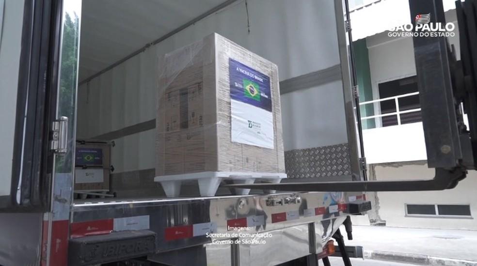 Lote com 900 mil novas doses da Coronavac para o Ministério da Saúde, liberado nesta quarta-feira (3) pelo Instituto Butantan — Foto: Divulgação