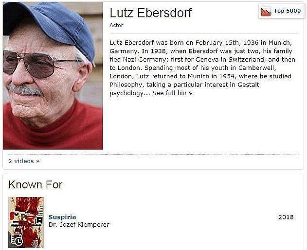 Perfil falso do ator Lutz Ebersdorf, criado por Tilda Swinton para não descobrirem que era ela por trás do personagem Dr. Josef Klemperer do filme Suspiria (Foto: Divulgação)