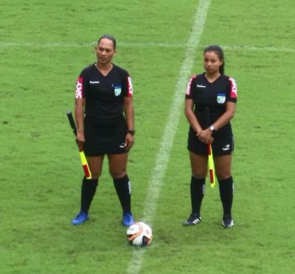 Roseane Amorim (esquerda) e Verônica Severino (direita) atuaram juntas neste domingo, no Florestão — Foto: Reprodução/Rede Amazônica
