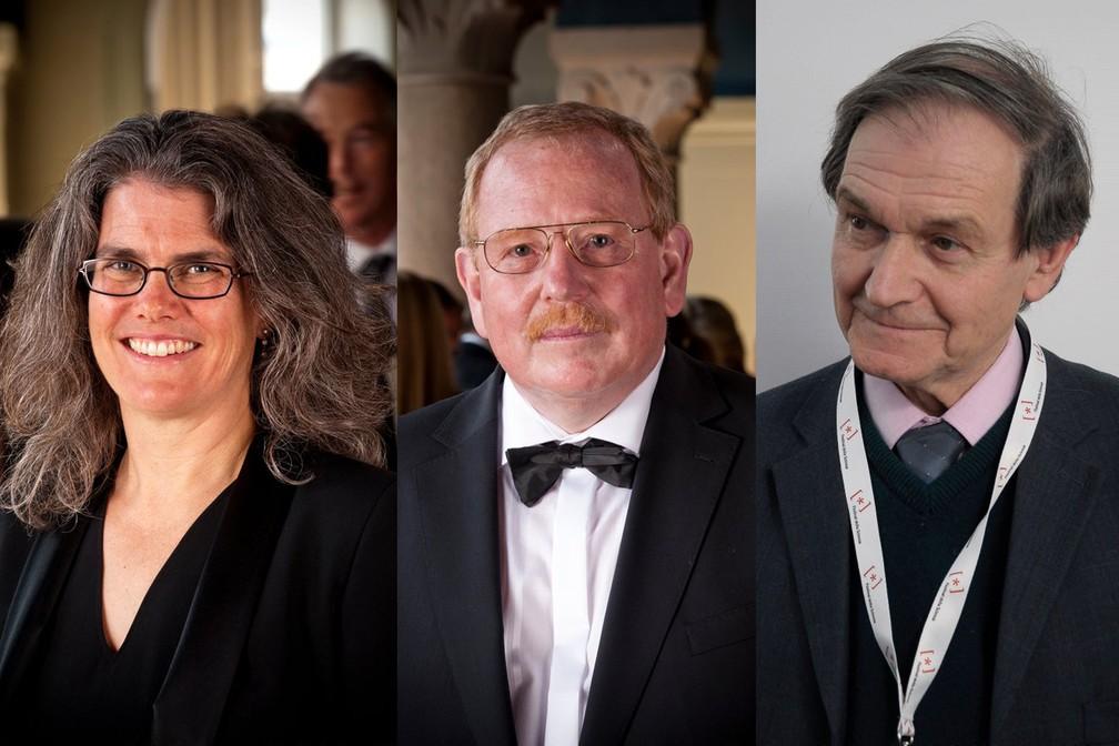 Andrea Ghez, Reinhard Genzel e Roger Penrose são os ganhadores do Prêmio Nobel 2020 em Física — Foto: Royal Academy of Sciences (Genzel e Ghez) e Wikimedia Commons (Penrose)