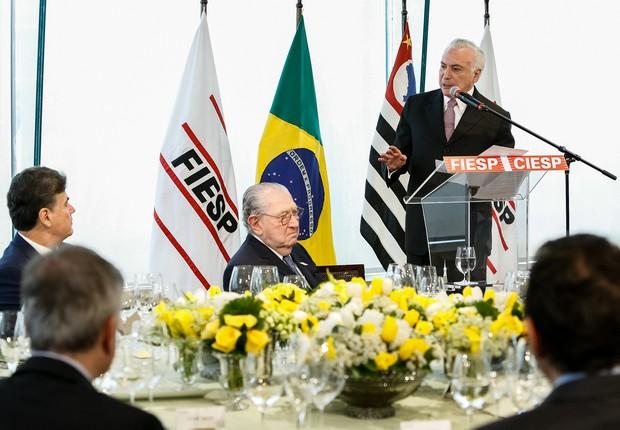 Presidente Michel Temer durante almoço com empresários na FIESP (Foto: Alan Santos/PR)