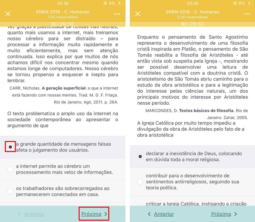 Simulado do AppProva só mostra resultados das questões ao final da prova ? Foto: Reprodução/Rodrigo Fernandes