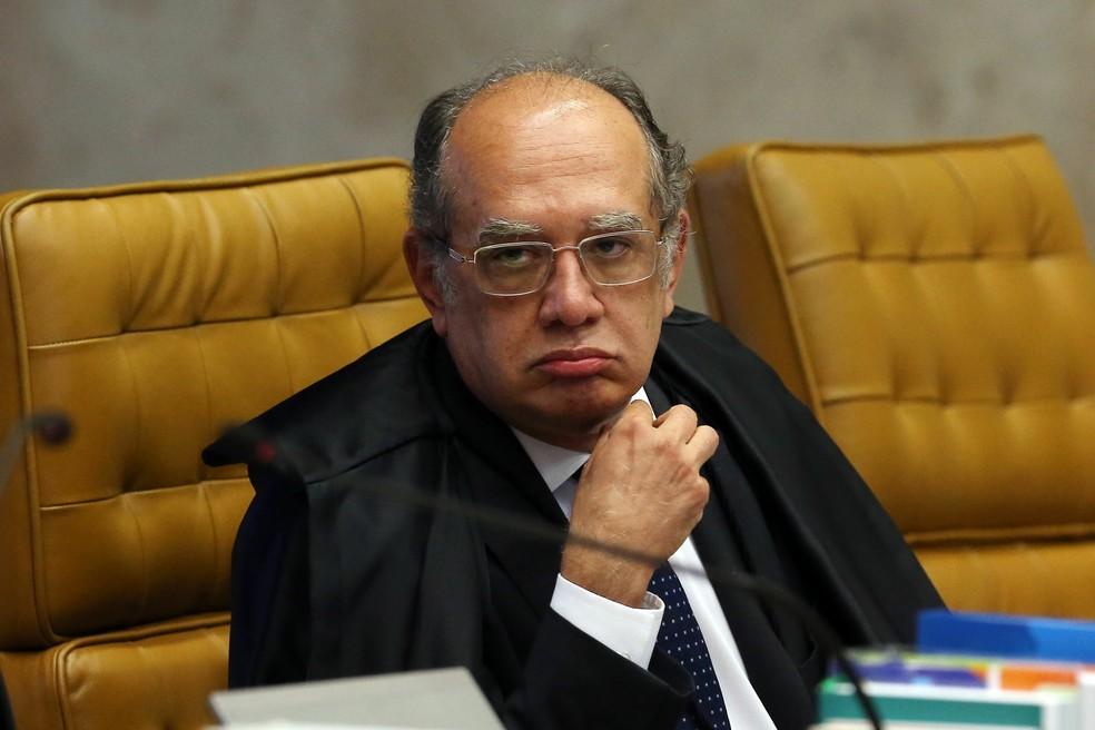 Gilmar Mendes no plenário do Supremo Tribunal Federal (STF), em Brasília (Foto: André Dusek/Estadão Conteúdo)