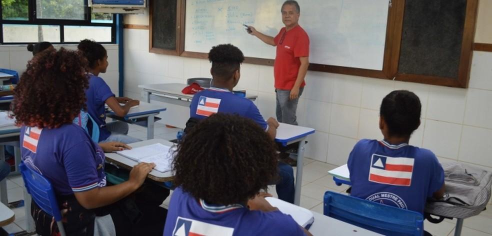 Sala de aula da rede estadual de ensino da Bahia — Foto: Divulgação/SEC