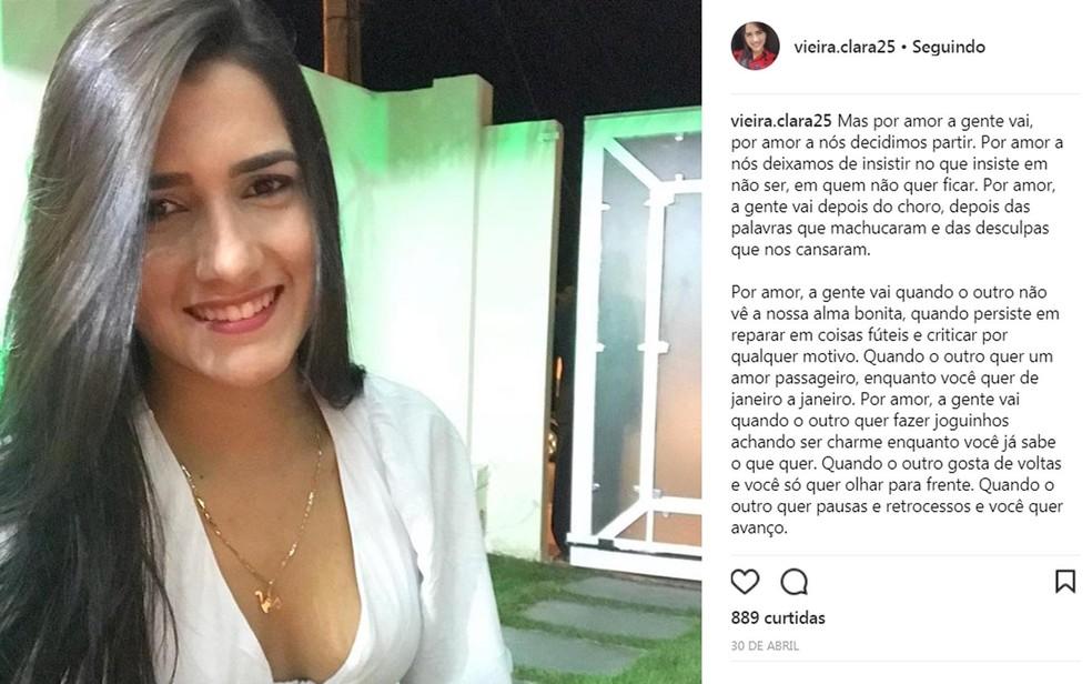 Clara terminou o relacionamento com o filho do prefeito baiano há cerca de um mês (Foto: Reprodução/ Instagram)