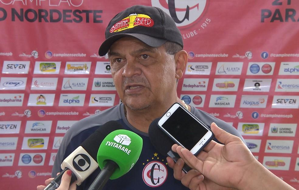 Francisco Diá não deu muita importância a questão de decidir em casa o mata-mata — Foto: Reprodução / TV Paraíba
