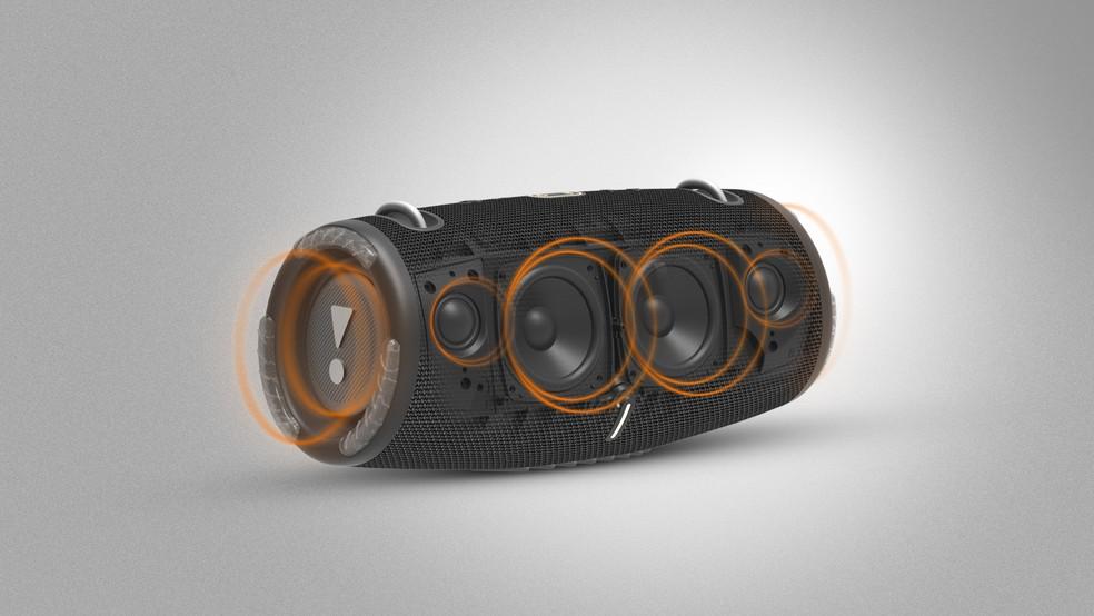 Nova Xtreme 3 tem quatro drivers e dois radiadores passivos para som potente e com bons graves — Foto: Divulgação/JBL