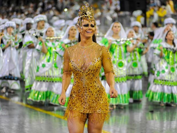 Mancha Verde no desfile das campeãs do carnaval de 2014 em São Paulo. (Foto: Flávio Moraes/G1)