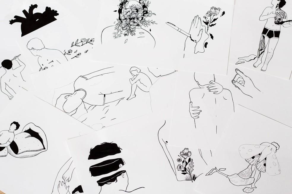 Esboços feitos pela artista Anália Moraes para o livro 'Textos cruéis demais para serem lidos rapidamente' — Foto: Divulgação/Casa Dobra