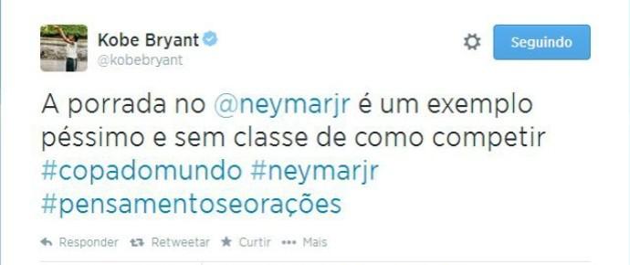 kobe bryant condena entrada de colombiano em neymar (Foto: Reprodução/Twitter)