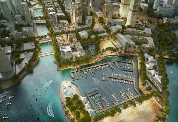 Cidade portuária que está sendo construída no Sri Lanka  (Foto: Divulgação/PortcityColombo)