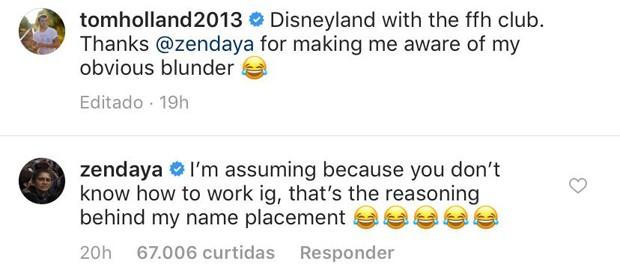 Tom Holland leva bronca de Zendaya por marcação inapropriada no Instagram (Foto: Reprodução / Instagram)