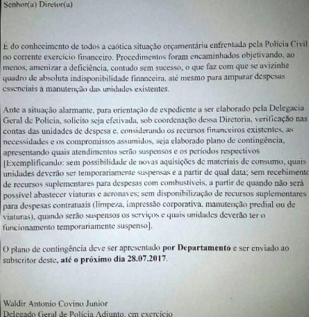 E-mail enviado por delegado geral adjunto sobre a crise financeira na Polícia Civil (Foto: Reprodução)