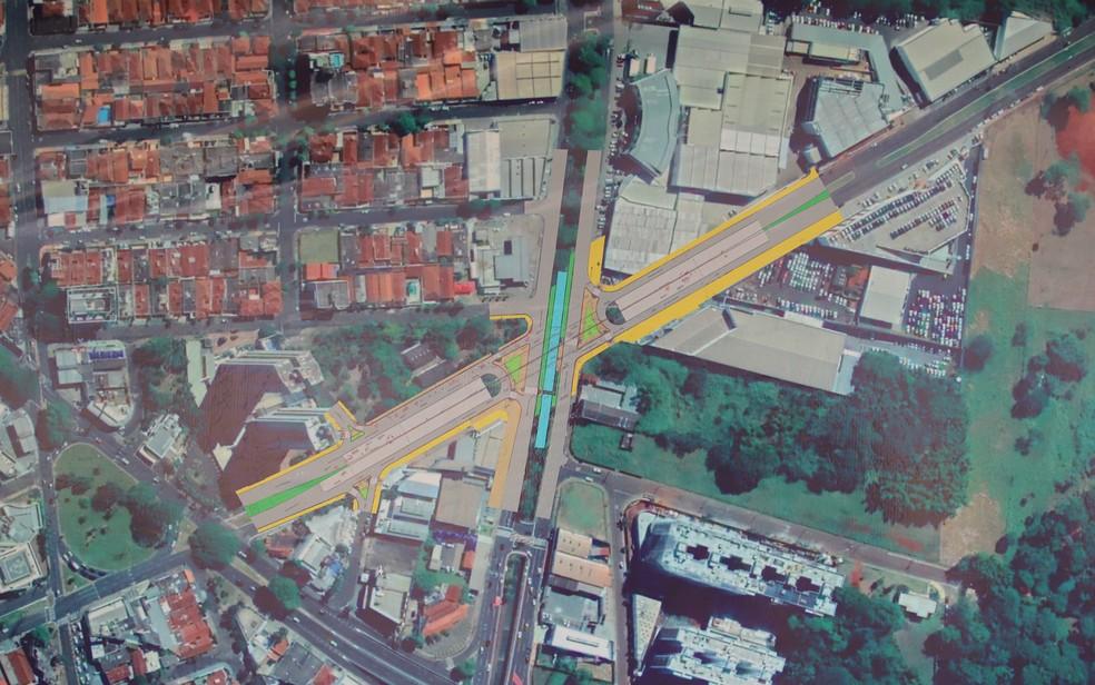 Arte mostra ponte elevada que será construída para interligar avenidas — Foto: Prefeitura de Ribeirão Preto/Divulgação