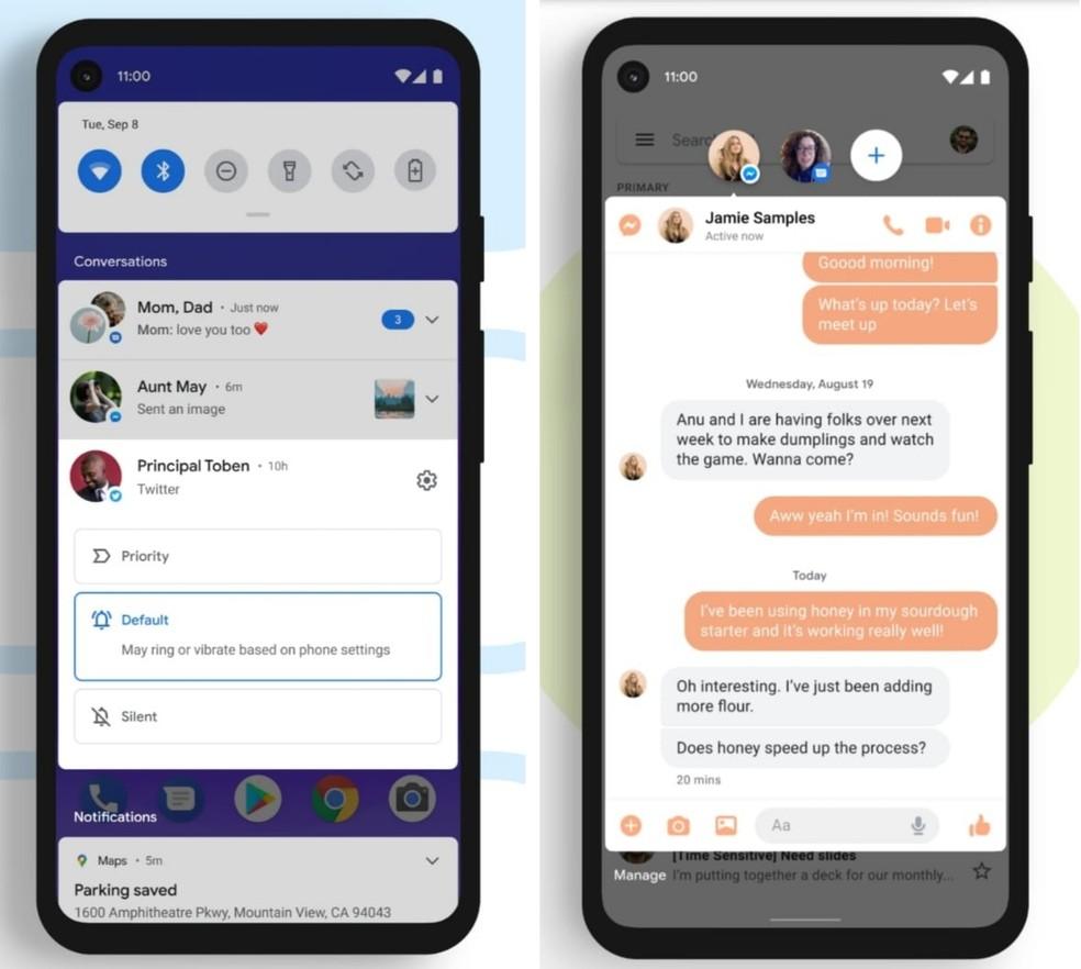 Novo recurso permite agrupar notificações e atribui balões para conversas — Foto: Divulgação/Google