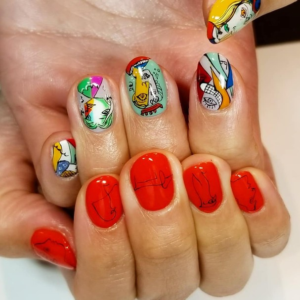 Nailart inspirada nas obras de Picasso viralizam (Foto: Reprodução/Instagram)