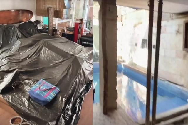 Sala da casa de Dani Suzuki que dá acesso à piscina também está passando por obras (Foto: Reprodução)