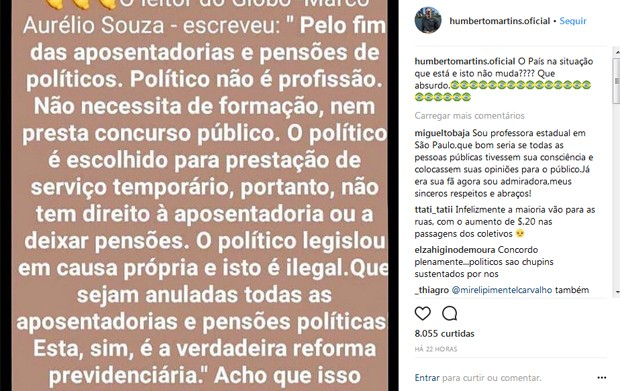 Post político de Humberto Martins (Foto: Reprodução / Instagram)
