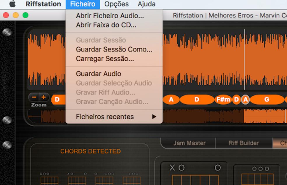 Opções do app Riffstation que reconhece as notas de uma música reproduzido no PC (Foto: Reprodução/Marvin Costa)