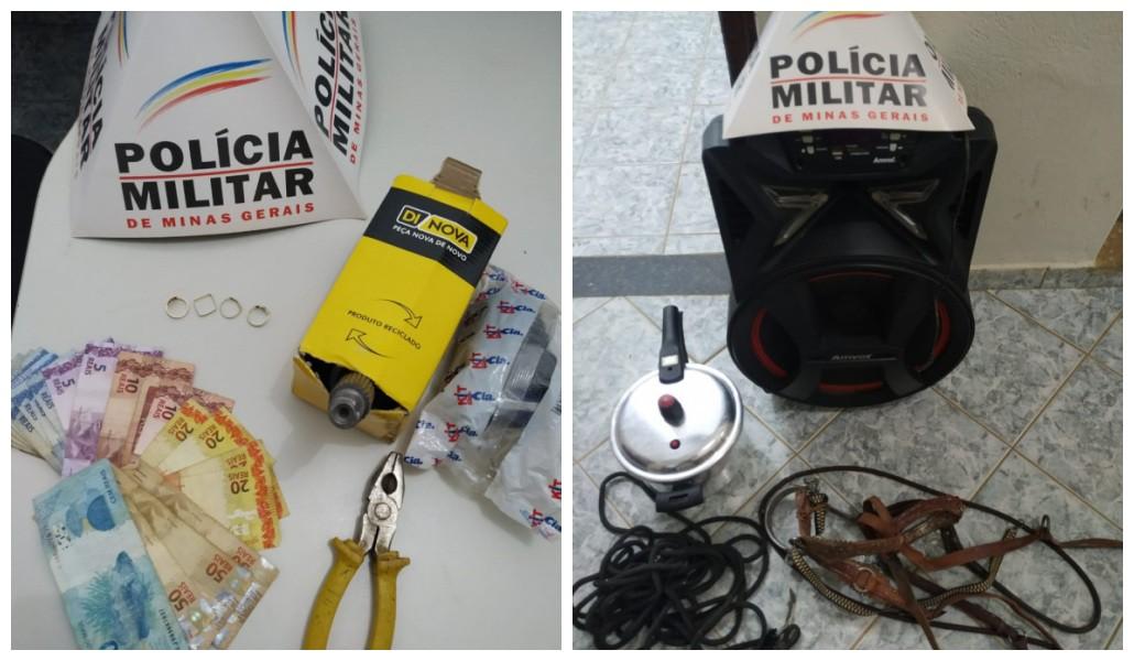 PM recupera joias, dinheiro e objetos furtados de casa em Verdelândia; autor entrou no imóvel pelo telhado