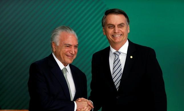 Michel Temer e o presidente Jair Bolsonaro