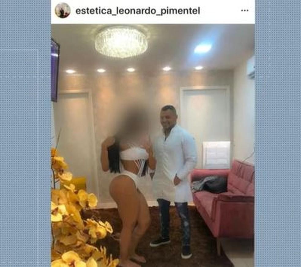 Nas redes sociais, Leonardo oferecia serviços estéticos — Foto: Reprodução TV Globo