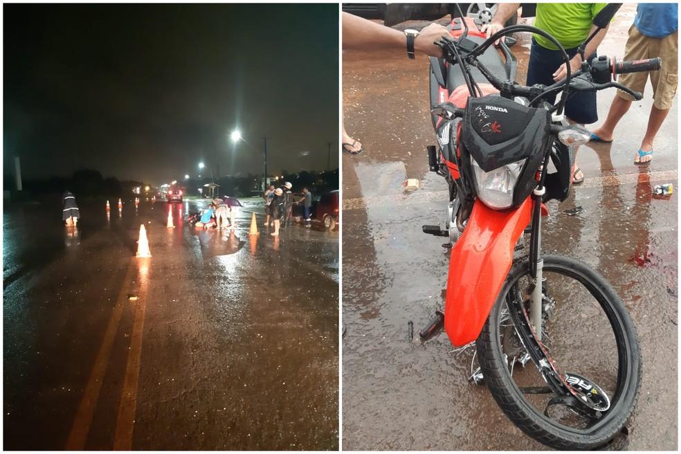 Acidente na BR-163, em Santarém, vitimou homem de 28 anos e deixou motocicleta com parte da frente comprometida — Foto: Divulgação/Polícia Rodoviária Federal