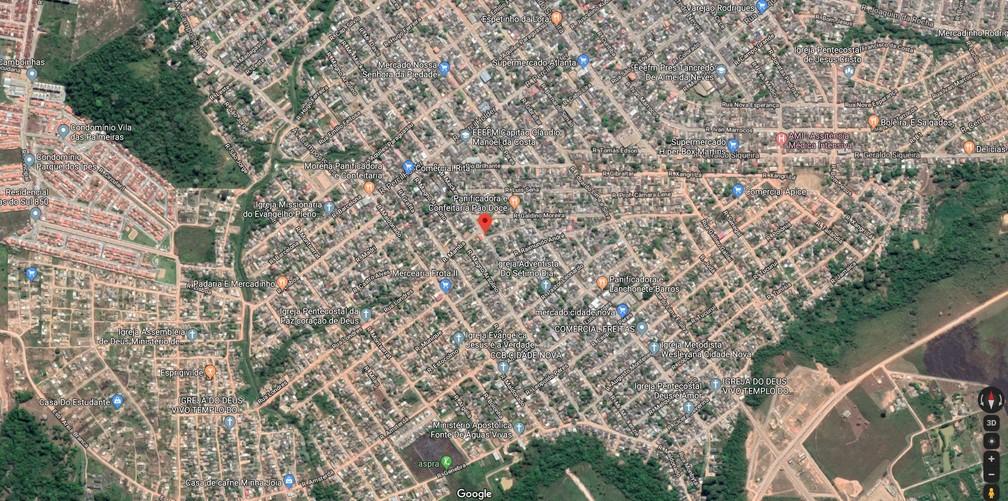 Jovem foi morto na Zona Sul de Porto Velho. — Foto: Reprodução/Google Maps