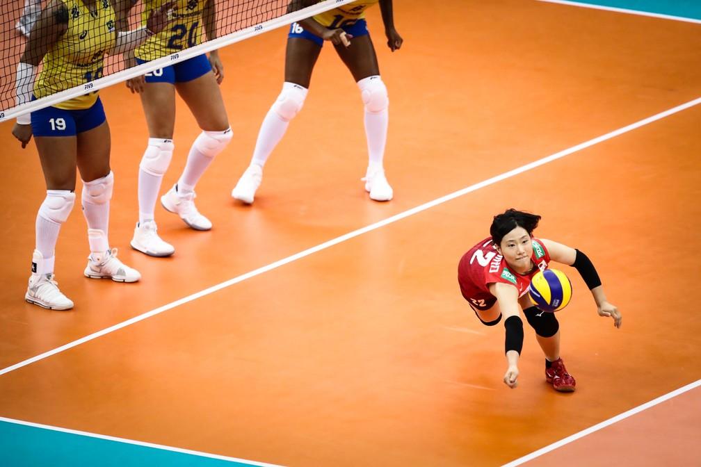 Brasil sofreu com a incansável defesa japonesa — Foto: Divulgação/FIVB