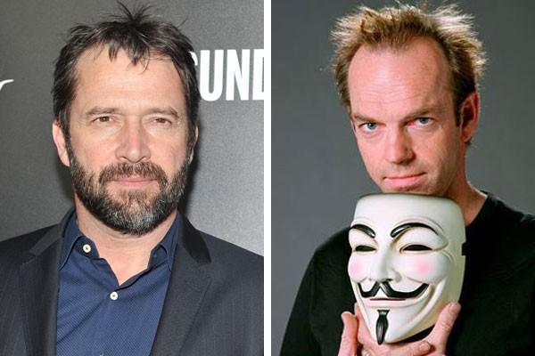 James Purefoy e Hugo Weaving com a máscara de V (Foto: Getty Images/Reprodução)