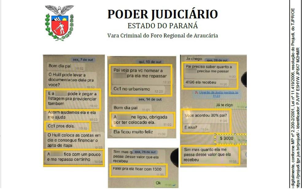 Em troca de mensagens, o ex-prefeito de Araucária e a filha discutem valores repassados por servidora comissionada (Foto: Justiça do Paraná/Reprodução)