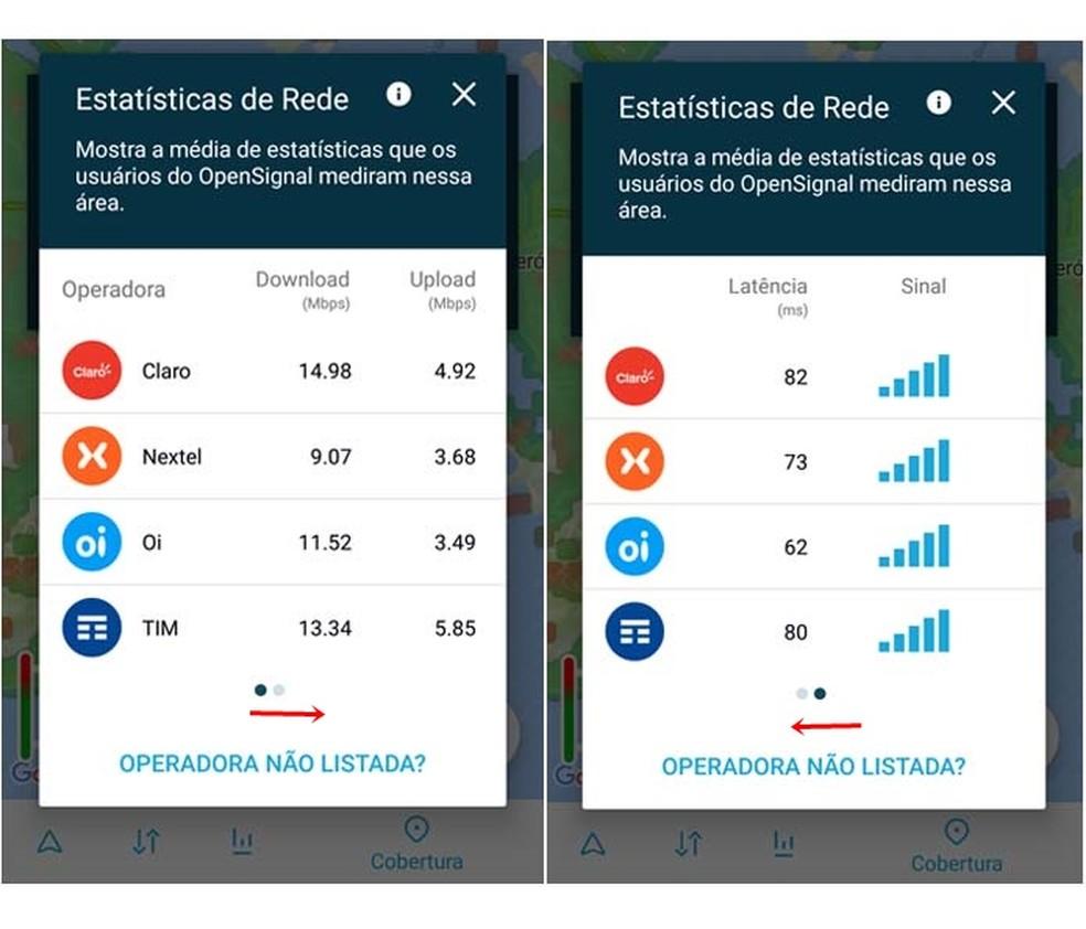 Open Signal exibe lista comparativa de desempenho das operadoras na localidade escolhida (Foto: Reprodução/ Taysa Coelho)