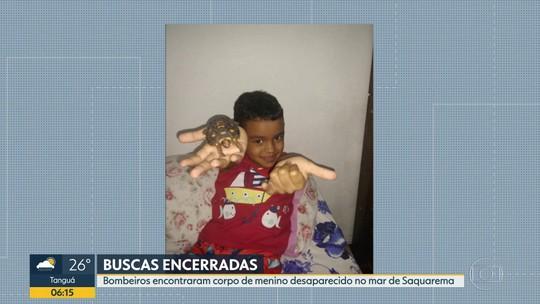 Bombeiros encontram corpo de criança desaparecida no mar de Saquarema