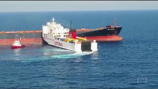 Equipes de 3 países tentam conter vazamento de oléo no Mar Meditterâneo