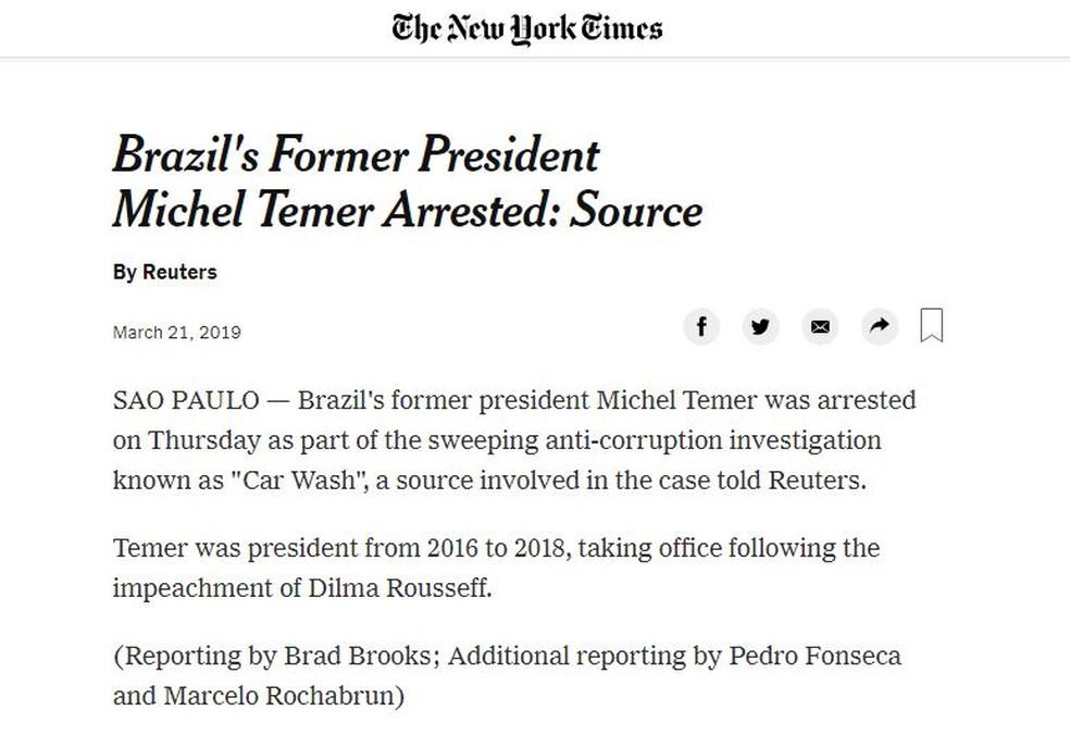 New York Times — Foto: Reprodução