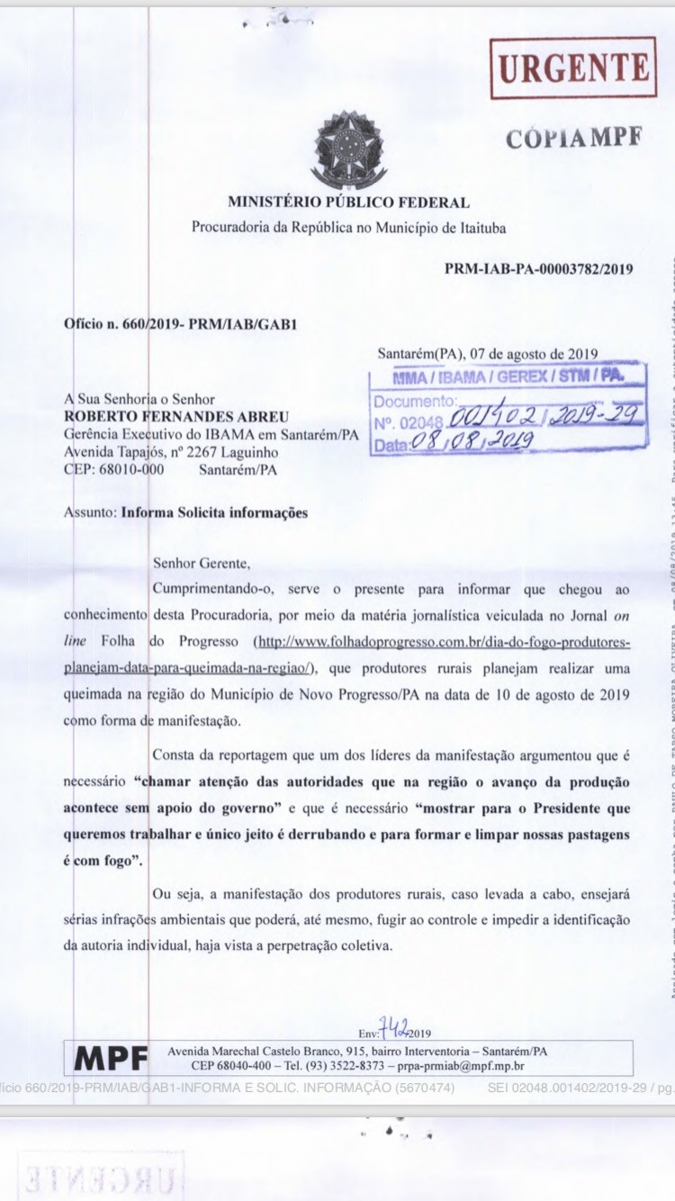 Uma das páginas de ofício enviado pelo MPF ao Ibama(Foto: Ed.Globo)