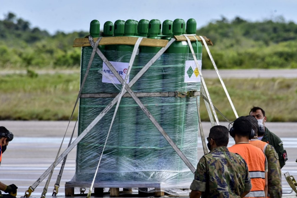 Rio Grande do Norte recebe 160 de cilindros de oxigênio — Foto: Pedro Vitorino
