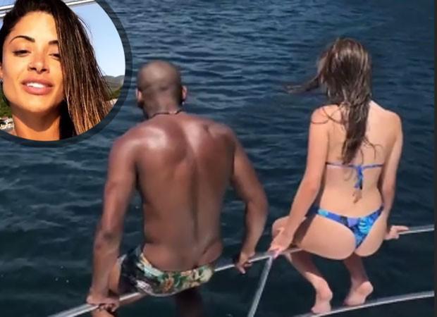 Aline Riscado entrega namoro de Nego e Duda (Foto: Reprodução)