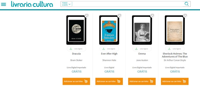 Livraria Cultura tem e-books importados gratuitos (Foto: Reprodução/Livraria Cultura)